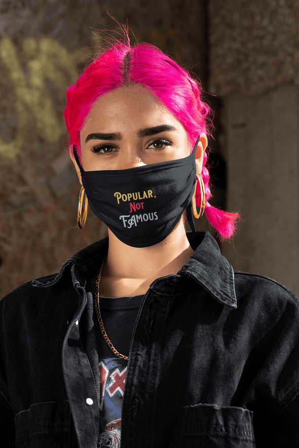 "Pop Savvee Clothing Accessories 5"" H x 7"" W / Black - Popular Not Famous / Cotton/Poly Custom 2-Ply Cotton Face Mask by Pop Savvee Clothing"