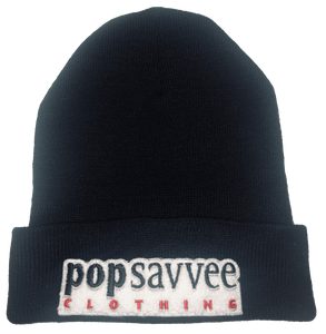 "Pop Savvee Clothing Hats OSFA / Black / 100% Acrylic Unisex Black Beanie With ""Pop Savvee Clothing"" Chenille Embroidery Patches"