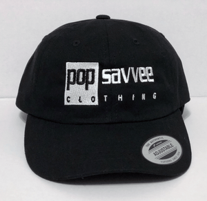 "Pop Savvee Clothing Hats OSFA / Black / Cotton Black Dad Hat With Adjustable Strap and White ""Rectangle"" Logo"