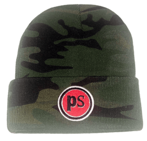 "Pop Savvee Clothing Hats OSFA / Camo / 100% Acrylic Unisex Military Camo Beanie With ""Pop Savvee Clothing"" Chenille Embroidery Patches"