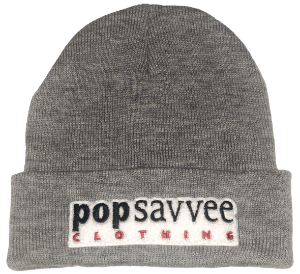 "Pop Savvee Clothing Hats OSFA / Heather Grey / 100% Acrylic Unisex Heather Grey Beanie With ""Pop Savvee Clothing"" Chenille Embroidery Patches"