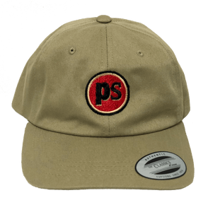 "Pop Savvee Clothing Hats OSFA / Khaki / Cotton Khaki Dad Hat With Adjustable Strap and Red ""Pop Savvee Clothing"" Logo"