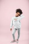 "Pop Savvee Clothing Hoodies 2T / White / Cotton/Polyester Youth Heavy Blend Streetwear Hoodie With ""Popular Not Famous"" Logo"