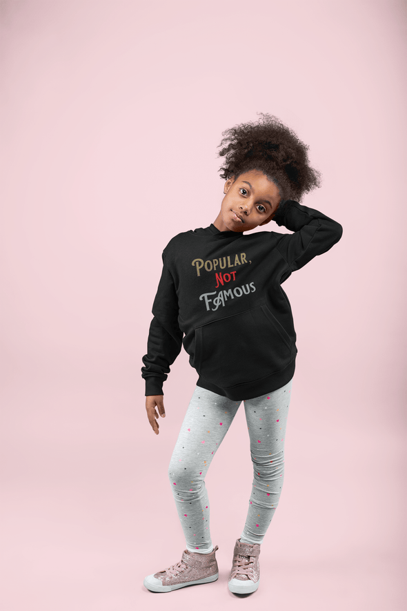 "Pop Savvee Clothing Hoodies XS (Youth) / Black / Cotton/Polyester Youth Heavy Blend Streetwear Hoodie With ""Popular Not Famous"" Logo"