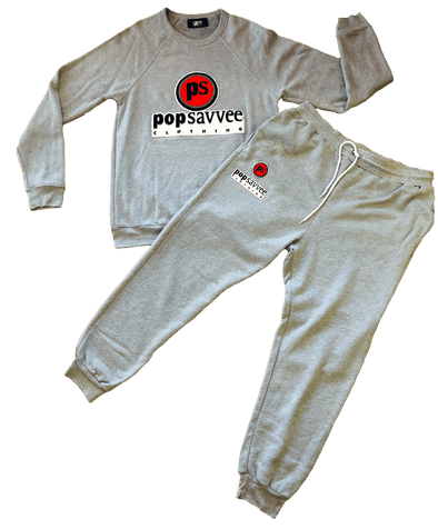 "Pop Savvee Clothing Jogging Suits S / Cotton/Polyester / Black Unisex Heather Grey Sweat Suit With ""Pop Savvee Clothing"" Chenille Embroidery"