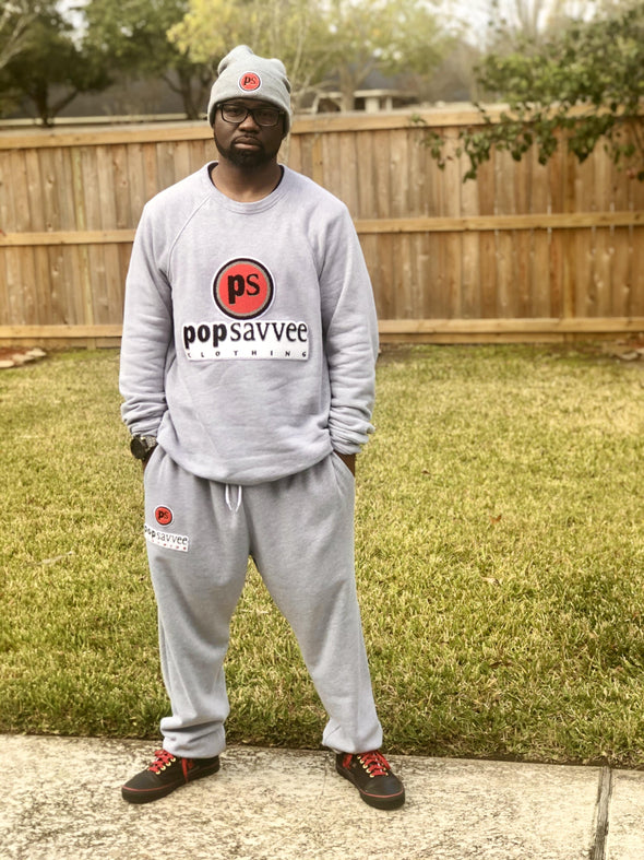 "Pop Savvee Clothing Jogging Suits Unisex Heather Grey Sweat Suit With ""Pop Savvee Clothing"" Chenille Embroidery"