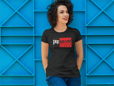 "Pop Savvee Clothing Shirts L / Black / Cotton/Polyester Women's Short Sleeve Crewneck T-Shirt With Red ""Rectangle"" Logo"