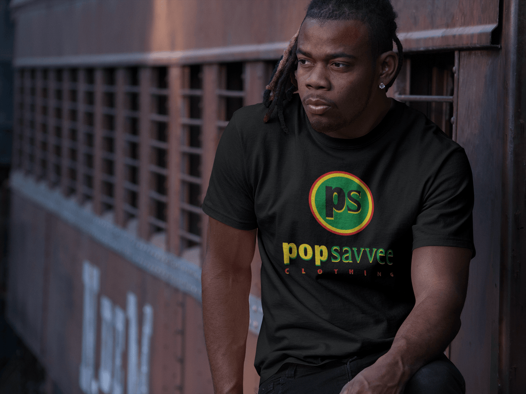 "Pop Savvee Clothing Shirts M / Black / Cotton/Polyester Unisex Short Sleeve Crewneck T-Shirt With Rasta ""Pop Savvee Clothing"
