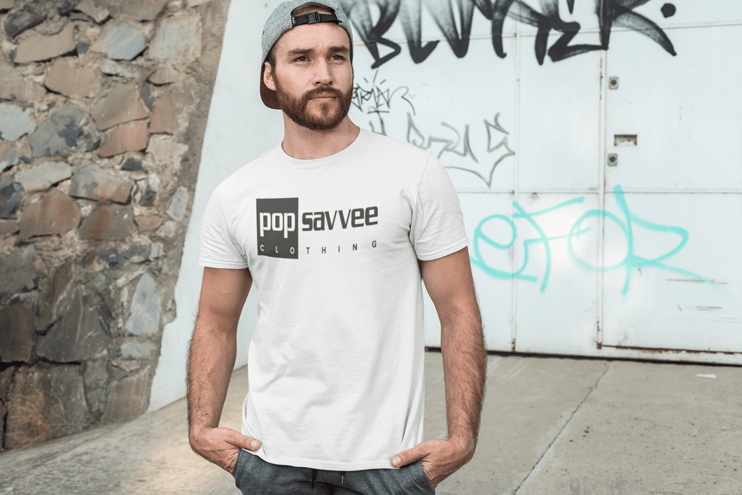 "Pop Savvee Clothing Shirts M / White / Cotton/Polyester Men's Short Sleeve Crewneck T-Shirt With Black ""Rectangle"" Logo"