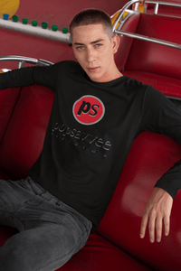 "Pop Savvee Clothing Shirts S / Black / Cotton Unisex Long Sleeve Crewneck T-Shirt With Red ""Pop Savvee Clothing"" Logo"