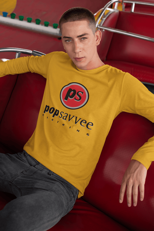 "Pop Savvee Clothing Shirts S / Gold / Cotton Unisex Long Sleeve Crewneck T-Shirt With Red ""Pop Savvee Clothing"" Logo"