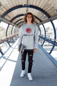 "Pop Savvee Clothing Shirts S / Heather Grey / Cotton/Polyester Heavy Blend Unisex Sweatshirt With Red ""Pop Savvee Clothing"" Logo"