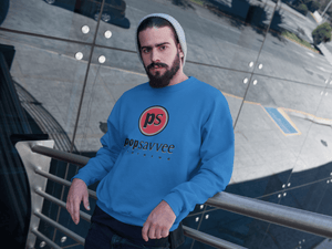 "Pop Savvee Clothing Shirts S / Royal Blue / Cotton/Polyester Heavy Blend Unisex Sweatshirt With Red ""Pop Savvee Clothing"" Logo"
