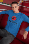 "Pop Savvee Clothing Shirts S / Royal Blue / Cotton Unisex Long Sleeve Crewneck T-Shirt With Red ""Pop Savvee Clothing"" Logo"