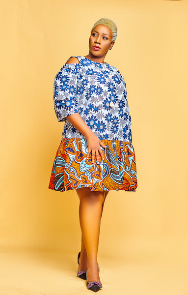 Ankara Cold Shoulder Dress