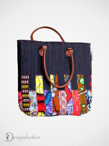 Denim and Ankara Mix Tote Bag