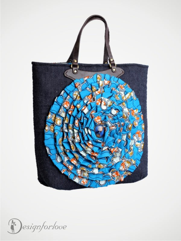 Flower Power Denim and Ankara Tote Bag