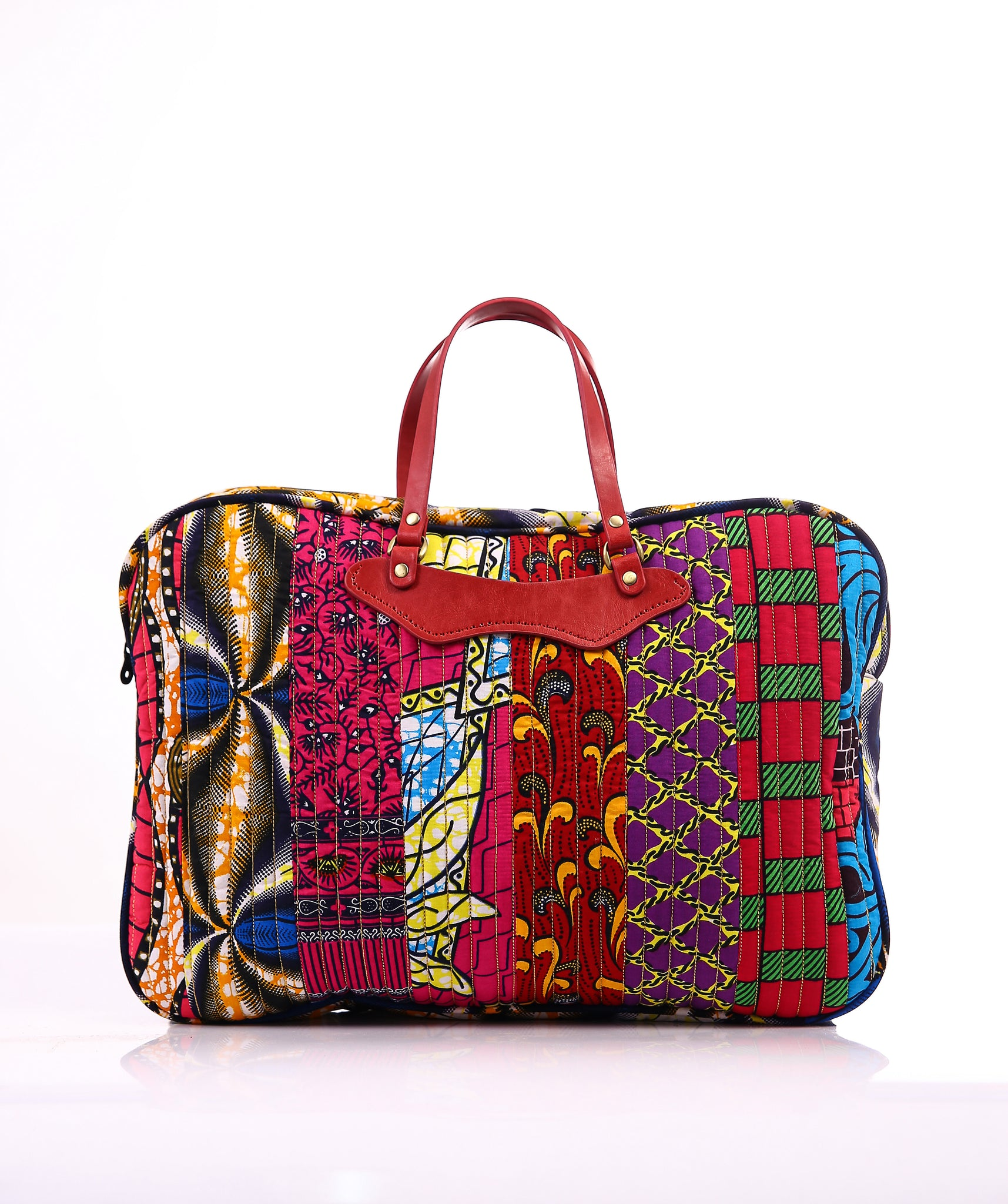 Quilted Multi- Ankara Laptop Bag (leather handle)
