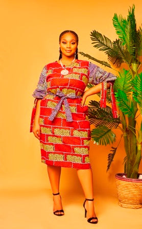 Chika  Mixed Ankara Dress