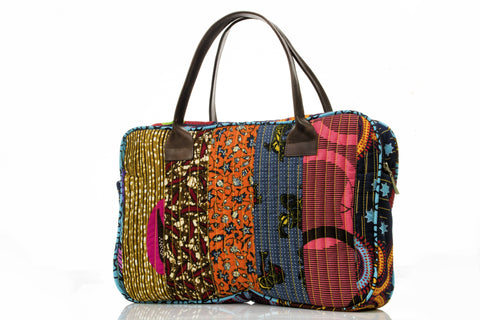 Quilted Ankara And Leather Carry-All Bag