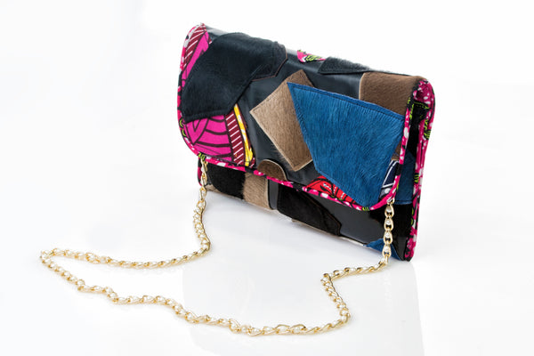 """Mix Match Ankara"" Clutch (LEATHER)"
