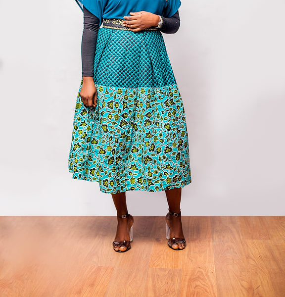 Two print Ankara pleated Skirt