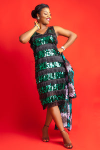 Green sequin fringed dress