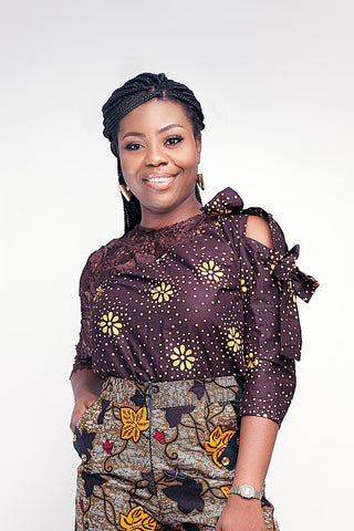Ankara Brown Mono- Lace Top