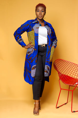 Patch Ankara Shirt Dress