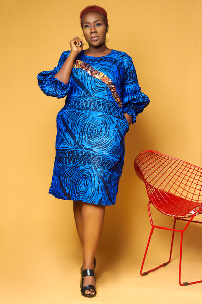 Adire Puff Sleeve Dress