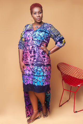 Hi-low Adire Shirt Dress
