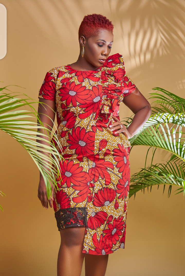 Cutout with lace Ankara shift dress