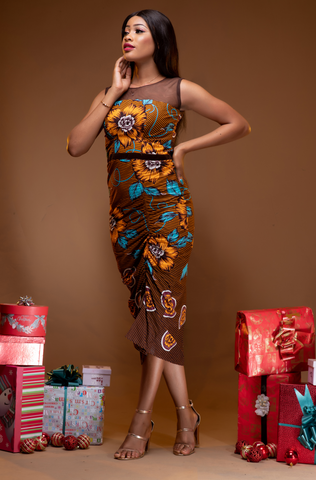 Ankara Ruched Dress