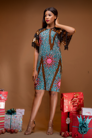 Gold sequined Ankara shift dress