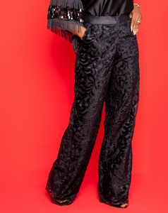 Black Lace Velvet Pants