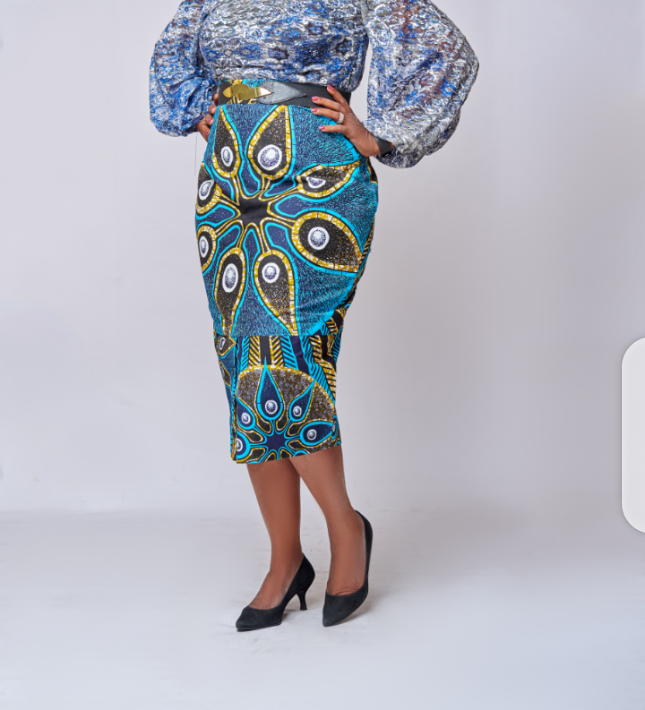 Button Ankara pencil skirt