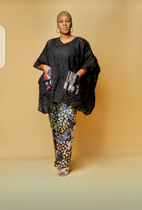 Lace dashiki and adire set