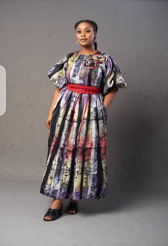 Asabi Bubble Sleeve Dress