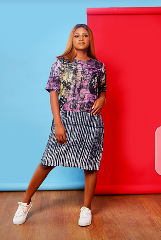 Ayo mixed Adire Dress