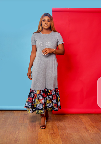 Jersey and adire tee shirt dress