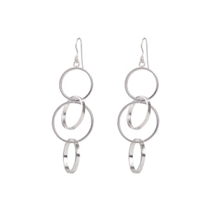 Open image in slideshow, Sterling Silver Circles Drop Earring