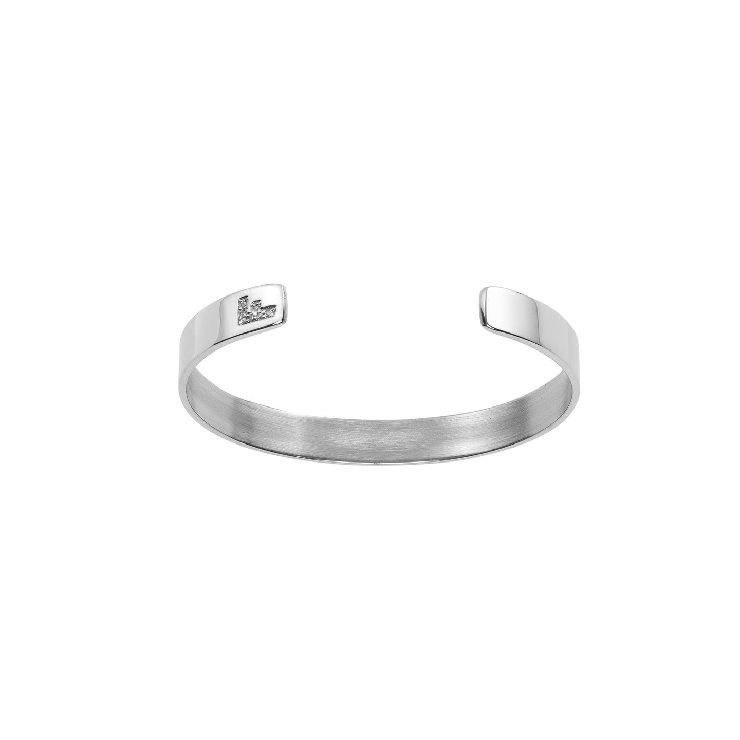 Skinny Reverse Burnish White Diamond Cuff with Single Initial