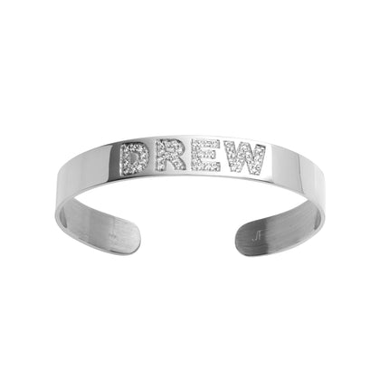 Burnish White Diamond Cuff with 4 Letters