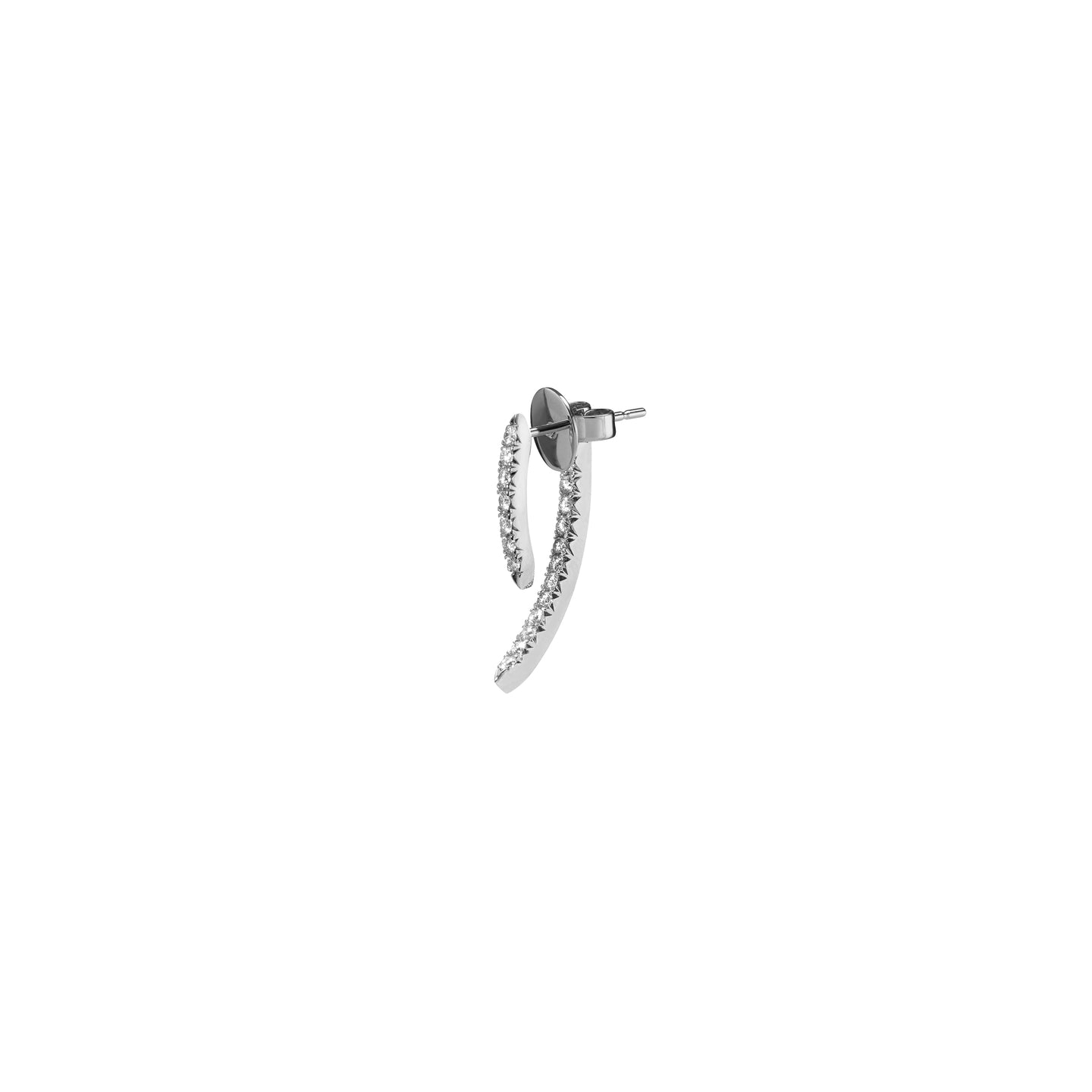 SINGLE MINI CLAW PIN TUSK EARRING WITH PAVE WHITE DIAMONDS