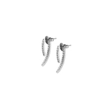 Mini Claw Pin Tusk Earrings with Pave White Diamonds