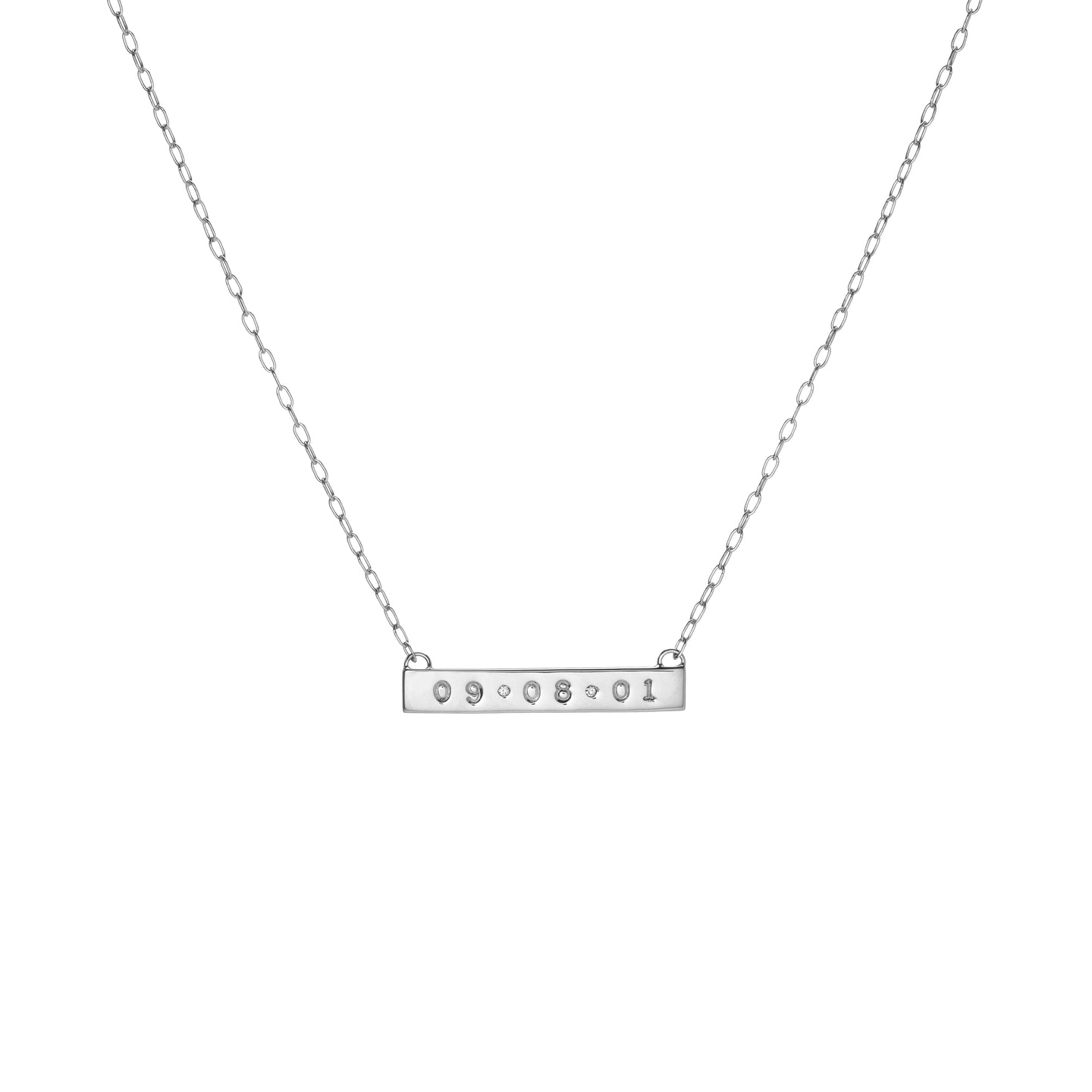 Mini Tall Dog Tag Bar Necklace with 2 White Diamonds
