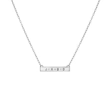 Mini Tall Dog Tag Bar Necklace with 3 White Diamonds