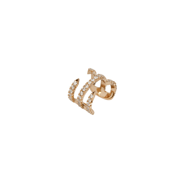 Double Pin Ear Cuff with Pave White Diamonds