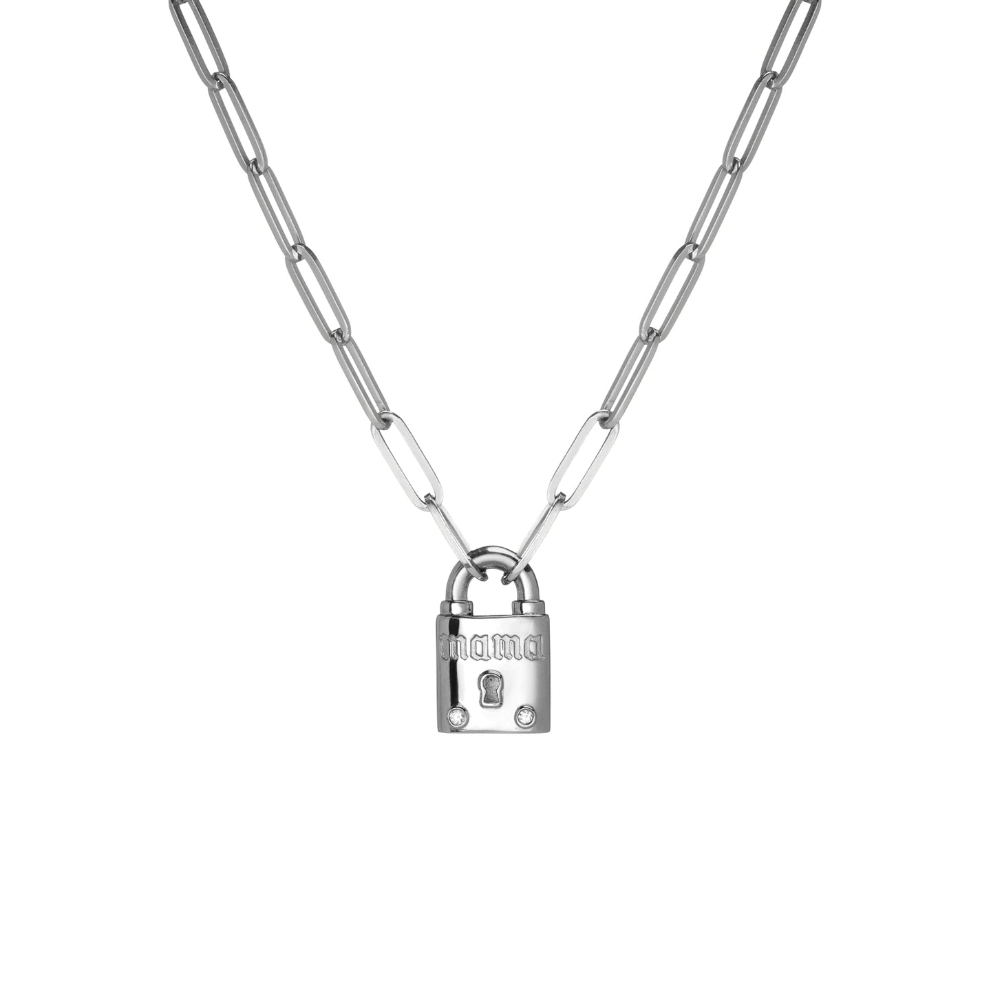 Large Family Gothic Lock Pendant with 2 White Diamonds