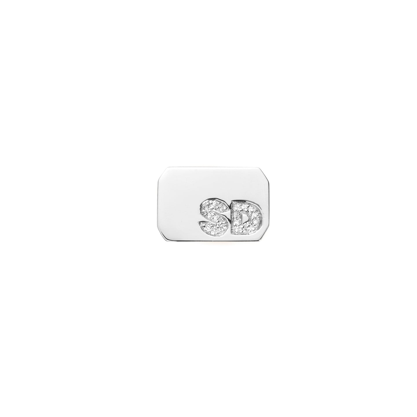 ACE Signet Ring with 2 Burnish White Diamond Letters
